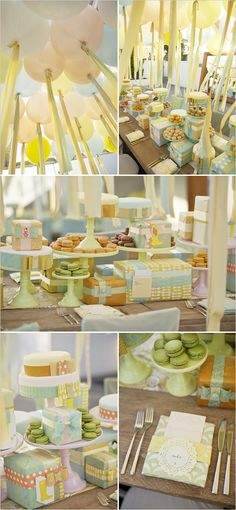 pastel wedding decorations with balloons!