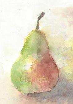 Fruit, fruit art print, art, watercolor painting, watercolor art print, watercolor, Green & Red Pear----Original watercolor print 6x8