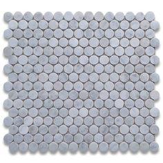 Carrara White Italian Carrera Marble Penny Round Mosaic Tile 3/4 inch Polished