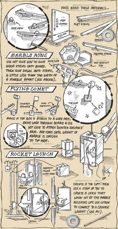 Illustrated instructions for making your own space themed marble run science project