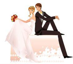 Жених и невеста. Векторный клипарт