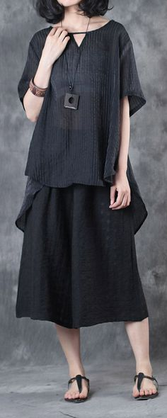 516a6b304e7da2 black silk linen two pieces casual loose tops and crop wide leg pants Baggy  Dresses,