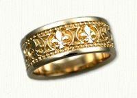 Fleur de lis Wedding Bands in gold and platinum http://www.custom-wedding-rings.com/