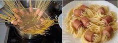 Enfiler des spaghettis dans des knackis avant la cuisson pour avoir un plat qui fera très plaisir aux enfants
