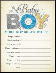 Baby Shower Game:  Wishes for the Little One
