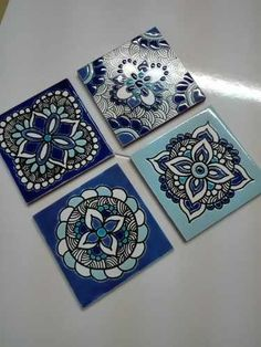 Azulejos Tocetos 15 X 15 Cm Decor A Mano. (soy Fabricante) - $ 67,00 en Mercado Libre Ceramic Wall Art, Tile Art, Mosaic Art, Decorative Tile, Decorative Boxes, Coaster Art, Pine Tree Tattoo, Tile Crafts, Cup Art