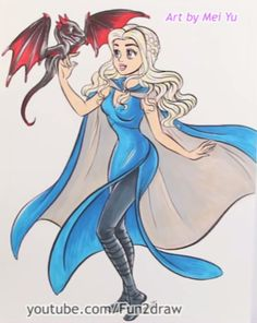 Beautiful Disney art of Daenerys of Game of Thrones by Mei Yu.  Check out her YouTube channel Fun2Draw for more of this art.  #DrawFemaleCharactersAsDisneyPrincessesChallenge