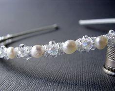 Freshwater Pearl Wedding Headband Crystal Flower by OhFaro on Etsy