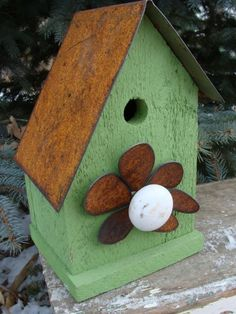 Recycled Reclaimed Decorative Birdhouse Wooden Bird House Home & Garden Birdhouse French Country Beach Cottage Gift for Mom Lime Paint