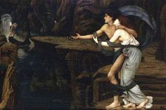 Orpheus and Euridice on the bank of the river Styx. 1878.  John Roddam Spencer Stanhope.