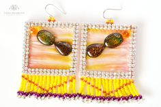 Items similar to Sqare pink - yellow earrings with Shibori silk and tassels on Etsy Pink Earrings, Crochet Earrings, Drop Earrings, Handmade Jewelry, Unique Jewelry, Handmade Gifts, Shibori, Tassels, Stuff To Buy