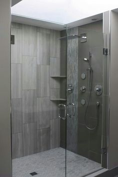 Grey big tiles look better in life than the pics. They also look good with a river rock floor.