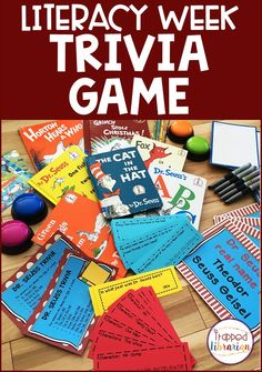 Literacy Week is the perfect time for some Dr. Seuss Activities for upper elementary students. This print and go trivia game is engaging and exciting! Low prep fun for your elementary library or classroom - Grab it now and let the fun begin! #thetrappedlibrarian Elementary School Library, Upper Elementary, Elementary Schools, Learning Activities, Teaching Resources, Library Events, Library Skills, Let The Fun Begin, School Community