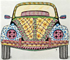 #Zentangle VW Bug from Template by Ben Kwok, Tangled by Lucy Banta