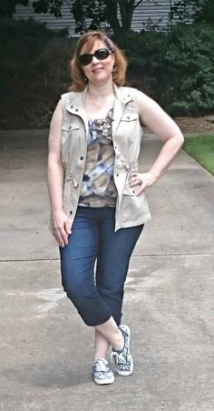 Casual Weekend Outfit, Denim Crop pants, and Utility Vest, Floral sneakers.  Over 40 Fashion
