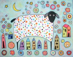 collage folk art | Sheep Collage Folk Art Karla Gerard Canvas ACEO - Art Card Print