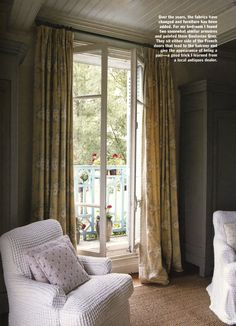 A pair of armchairs and a pair of wardrobes either side of French windows leading out to the balcony - Kathryn Ireland Yellow Sign, French Windows, Tuscan House, Inspiration Boards, Ireland, Master Bedroom, Home And Family, Upholstery, Lounge