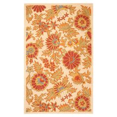 Highlight your home in garden-chic style with this hand-hooked wool rug, showcasing a lovely floral motif in ivory.  Product: Ru...