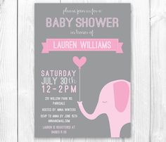 Elephant Baby Shower Invitation - Pink & Gray Girl Elephant Shower Invite. DIY Printable Invitation. Coordinating Party Package Available. on Etsy, $16.00