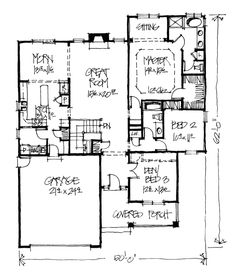 Bungalow Cabin Country Craftsman Southern House Plan 68120 Level One get rid of bedroom 3?