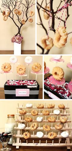 3 ways to display donuts in Decoration for babies, children and adults parties, for events such as anniversaries or birthdays or dinners