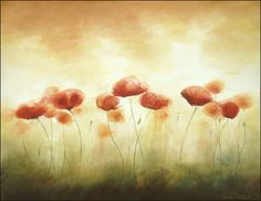 Original, Big Watercolor Painting, Field of Flowers, Red Poppies, Sunny Poppies, Summer Painting, Large Watercolor 16 x 20 inches by Artdora