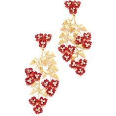 Jennifer Behr Aviva Chandelier Earrings ($885) ❤ liked on Polyvore featuring jewelry, earrings, jennifer behr, flower earrings, earring jewelry, flower jewellery and flower jewelry