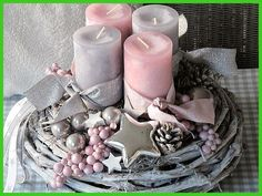 ** Advent wreath ★ STAR DREAM ★ ** The white vine wreath was decorated with pink and gray candles, which are wrapped with matching ribbons. Gray and silver balls, … Rose Gold Christmas Decorations, Christmas Advent Wreath, Christmas Arrangements, Christmas Centerpieces, Christmas Crafts, Christmas Inspiration, Creations, Vine Wreath, Pancake