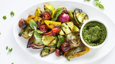 Salsa Verde Grilled Vegetables : Combine the garlic, preserved lemon, onion, capers, anchovies, and vinegar in a food proce…