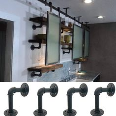 Buy Industrial Iron Pipe Bracket Wall Mounted Floating Shelf Hanging Wall Hardware Decor Pipe Shelf Brackets Wood Board Rack at Wish - Shopping Made Fun Industrial Chic, Industrial Irons, Industrial Shelving, Iron Pipe Shelves, Pipe Shelf Brackets, Iron Shelf, Shelving Racks, Wire Shelving, Folding Screen Room Divider