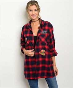RED PLAID FLANNEL SHIRT Oversize BOYFRIEND SHIRT Cowgirl GYPSY Country LARGE NWT #THESTORY #ButtonDownShirt