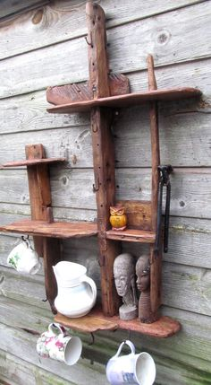 Driftwood/rustic shelves in locally sourced,recycled timber in medium dark oak wax finish. by yorkart on Etsy