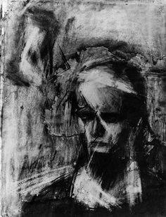 Head of Julia 1960 Frank Auerbach Frank Auerbach, Dark Portrait, Portrait Art, Drapery Drawing, Neo Dada, Dark Artwork, Human Drawing, Art Brut, A Level Art