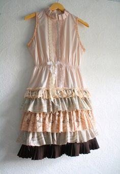 Upcycled dress with cute layers of ruffles.