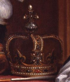 The State Crown of George I, used to crown George I, George II, George III and William IV. (George IV had a new diamond crown made for his coronation.) Detail from a portrait of King George I by Sir Godfrey Kneller, 1716.