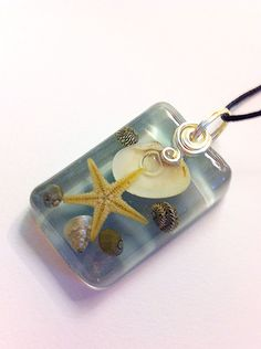 Real Starfish Sea Shells Blue Beach Pendant Nature by PrismGypsy