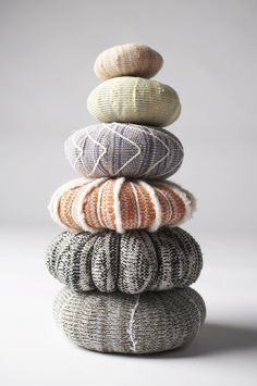 Patricia Bown Sea Urchin knitted pillows.