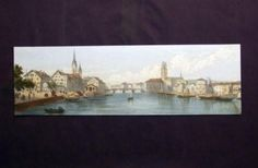 1870 c  Scarce Panorama of  Zürich Zurich in lithography, additional hand colour…