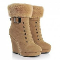 $27.20 Mature Women's Short Boots With Faux Fur and Buckle Design