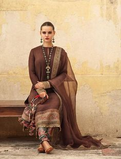indian designer wear Chocolate Color Designer salwar kameez from Sabyasachi 2019 Collection. For more details please contact us through WhatsApp Pakistani Formal Dresses, Pakistani Dress Design, Pakistani Outfits, Indian Outfits, Pakistani Salwar Kameez Designs, Indian Attire, Indian Wear, Sabyasachi Sarees, Anarkali