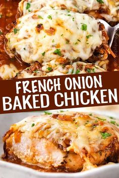 Juicy chicken breasts absolutely smothered in saucy caramelized onions and loads of gooey cheese French onion baked chicken is easy to prep ahead too bakedchicken frenchonion chicken comfortfood dinnerrecipe easyrecipe Easy Baked Chicken, Baked Chicken Breast, Chicken Breasts, Chicken Thighs, Oven Chicken, Keto Chicken, Rotisserie Chicken, Easy Chicken Meals, Chicken Milk