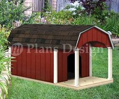 "30"" X 36"" Small Dog House Plans, Gable Roof Style With Porch, Design # 90204g"