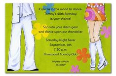 'Disco Daisy and Dan' by Invitation Consultants - Wallpapers Holiday Party Invitations, Unique Invitations, Invitation Cards, Birthday Invitations, Invites, Disco Party, Xmas Party, Holiday Parties, Christmas Cocktails