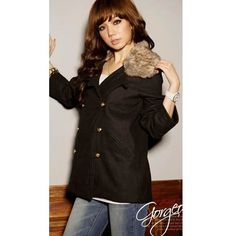 Big Shearing Long Sleeve Double-Breasted Women Red Blends Coat One... ($26) via Polyvore