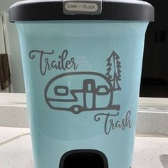 Painted Trash Cans, Camping Signs, Camping Stuff, Custom Decals, Creative Decor, Happy Campers, Wall Decals, Wall Art, Custom Design