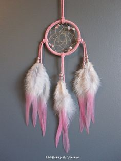 Dream Catcher Pink Suede with Pink Rooster by FeathersandSinew, $17.95