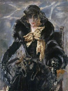 Marchesa Luisa Casati - by Augustus Edwin John (Welsh, 1878-1961) - Oil on canvas - 122.2x91.7cm. - National Museum Wales