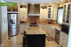 white cabinets dark island | White kitchen cabinets remodel with black