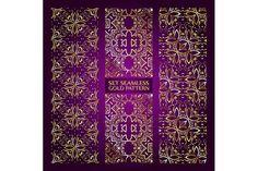 Set 3 golden lace pattern purple-2 by nastyaaroma on @creativemarket