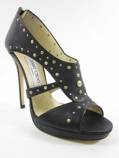 JIMMY CHOO Blk Leather Open Toe Gold Studded Strappy Side Detail Pumps 38.5 8.5 at www.ShopLindasStuff.com